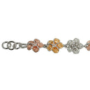 Tri-color Sterling Silver W/E Plumeria CZ Bracelet 8mm - Hanalei Jeweler