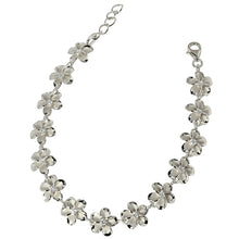 Sterling Silver Rhodium 10mm Plumeria with cz Bracelet One Tone - Hanalei Jeweler