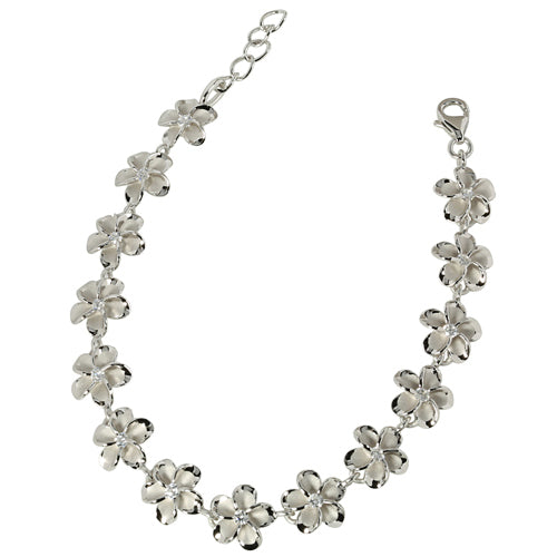 Sterling Silver Rhodium 10mm Plumeria with cz Bracelet One Tone