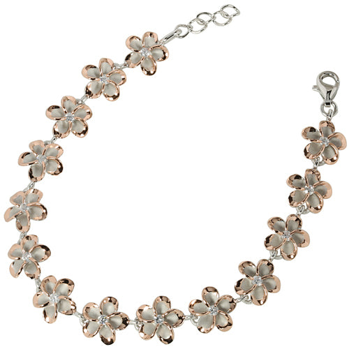 Pink Gold Plated Sterling Silver 10mm Plumeria Bracelet CZ Inlaid Two Tone - Hanalei Jeweler