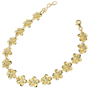 Sterling Silver 10mm Plumeria Bracelet Yellow Gold Plated - Hanalei Jeweler
