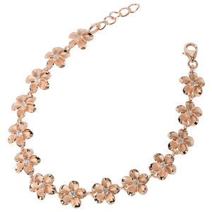 Sterling Silver 10mm Plumeria Bracelet Pink Gold Plated - Hanalei Jeweler