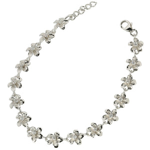Rhodium 8mm Plumeria Bracelet Prong Setting CZ - Hanalei Jeweler