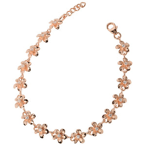 Pink Gold Plated 8mm Plumeria Bracelet Prong Setting CZ