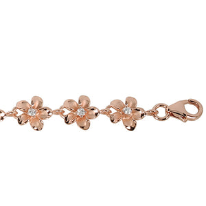 Pink Gold Plated 8mm Plumeria Bracelet Prong Setting CZ - Hanalei Jeweler