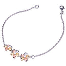 Sterling Silver Plumeria with Rope Chain Bracelet Tri-color finished - Hanalei Jeweler