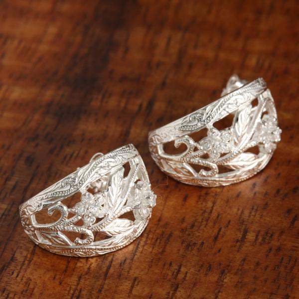 Scroll CZ Half Moon Earrings
