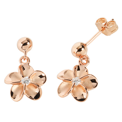 Pink Gold Plated Bead Plumeria Stud Earring 10mm - Hanalei Jeweler