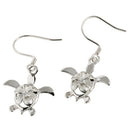 Sterling Silver Rhodium 8mm Plumeria In Honu Hook Earring - Hanalei Jeweler