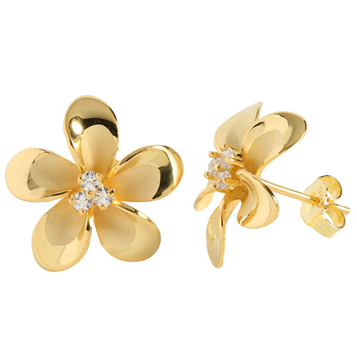 18mm Plumeria Yellow Gold Plated Three CZ Stud Earring - Hanalei Jeweler