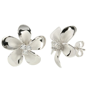 18mm Plumeria Sterling Silver Rhodium Three CZ Stud Earring - Hanalei Jeweler