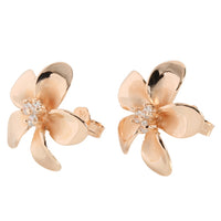 18mm Plumeria Pink Gold Plated Sterling Silver Three CZ Stud Earring - Hanalei Jeweler