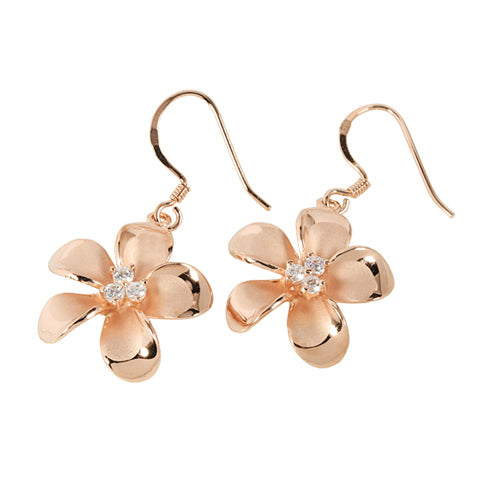 Sterling Silver 18MM Prong Setting CZ Plumeria Hook Earring Pink Gold Plated - Hanalei Jeweler