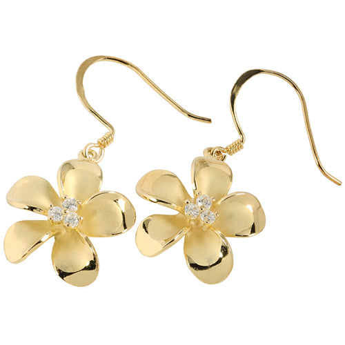 Sterling Silver 20mm Plumeria Yellow Gold Plated Three CZ Stud Earring - Hanalei Jeweler