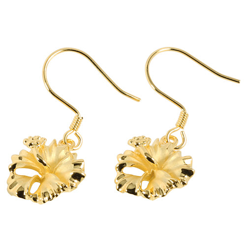 Yellow Gold Plated Sterling Silver Hibiscus Hook Earring 12mm - Hanalei Jeweler