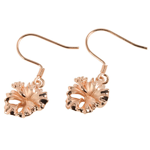 Pink Gold Plated Sterling Silver Hibiscus Hook Earring 12mm - Hanalei Jeweler