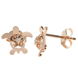 4mm Plumeria in Honu Pink Gold Plated Sterling Silver Stud Earring - Hanalei Jeweler