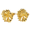 Sterling Silver 15mm Hibiscus Stud Earring Yellow Gold Plated - Hanalei Jeweler