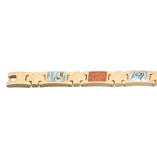 Yellow Gold Plated Koa Wood Abalone Inlay Bracelet - Hanalei Jeweler