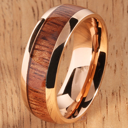 Pink Gold Stainless Natural Hawaiian Koa Wood Inlay Mens Wedding Ring Dome Shape 8mm Hawaiian Ring - Hanalei Jeweler