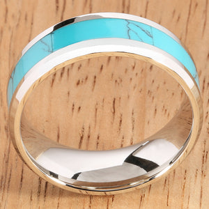 8mm Blue Turquoise Inlaid Stainless Beveled Edge Wedding Ring - Hanalei Jeweler