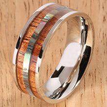 8mm Natural Hawaiian Koa Wood and Abalone Inlaid Stainless Steel Flat Wedding Ring - Hanalei Jeweler