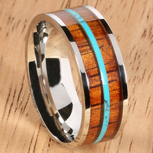 8mm Natural Hawaiian Koa Wood and Turquoise Inlaid Stainless Steel Flat Wedding Ring - Hanalei Jeweler