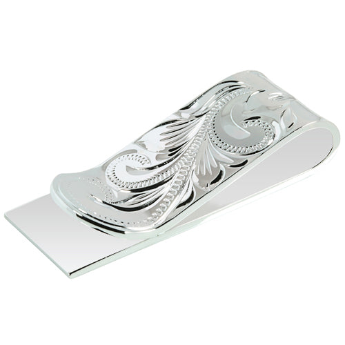 Sterling Silver 18mm Money Clip Scroll Engraving - Hanalei Jeweler