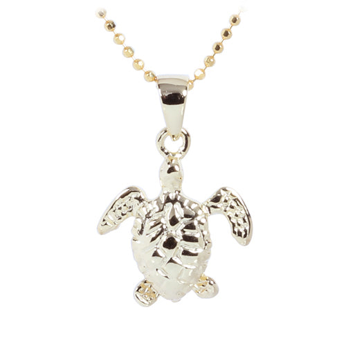Yellow Gold Plated Sterling Silver Small Turtle Pendant - Hanalei Jeweler