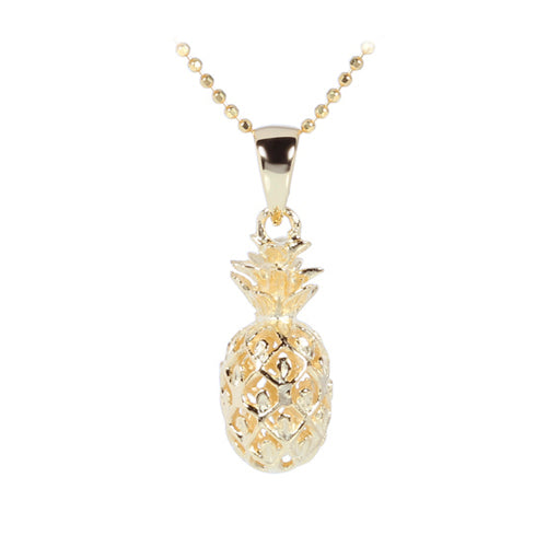 Yellow Gold Plated Sterling Silver Pineapple Pendant (S) - Hanalei Jeweler