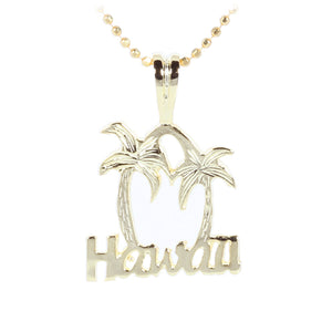 Yellow Gold Plated Sterling Silver HAWAII Palm Tree Pendant - Hanalei Jeweler