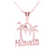 Pink Gold Plated Sterling Silver HAWAII Palm Tree Pendant - Hanalei Jeweler