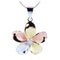 Sterling Silver 30mm Tri-color CZ Plumeria Pendant - Hanalei Jeweler