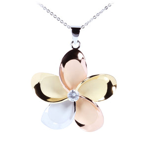 Sterling Silver 45mm Tri-color CZ Plumeria Pendant - Hanalei Jeweler
