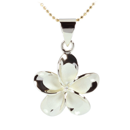 Yellow Gold Plated Sterling Silver 20mm Plumeria Pendant no CZ - Hanalei Jeweler