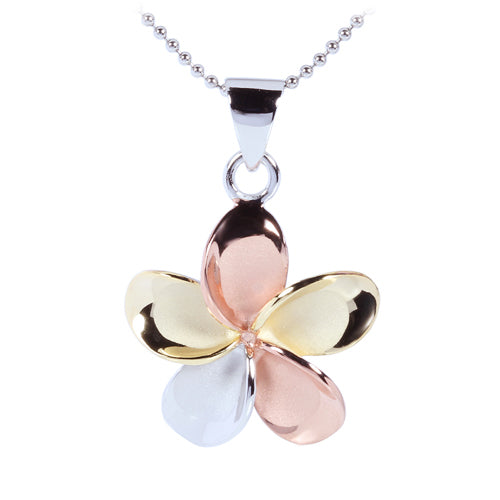 22mm Tri-Color 925 Sterling Silver Plumeria Pendant - Hanalei Jeweler