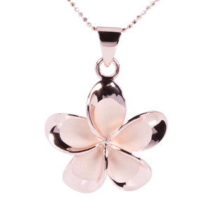 Pink Gold Plated Sterling Silver 25mm Plumeria Pendant no CZ - Hanalei Jeweler
