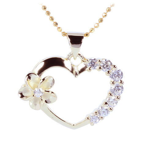 Yellow Gold Plated Sterling Silver Heart with Side Plumeria & CZ Pendant - Hanalei Jeweler