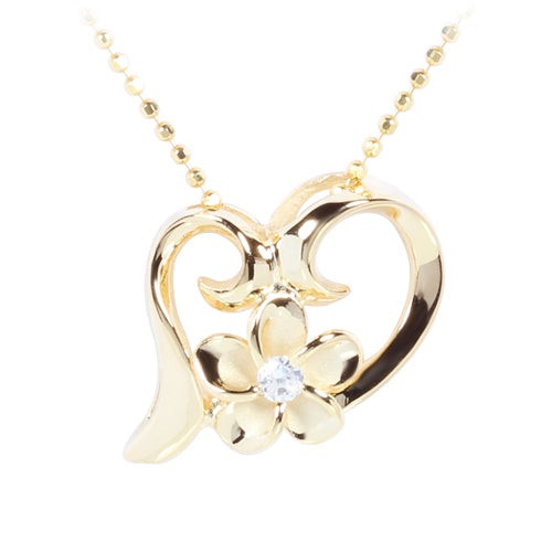 Yellow Gold Plated Sterling Silver Floating Heart with Plumeria Pendant - Hanalei Jeweler