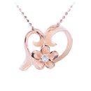 Pink Gold Plated Sterling Silver Floating Heart with Plumeria Pendant - Hanalei Jeweler