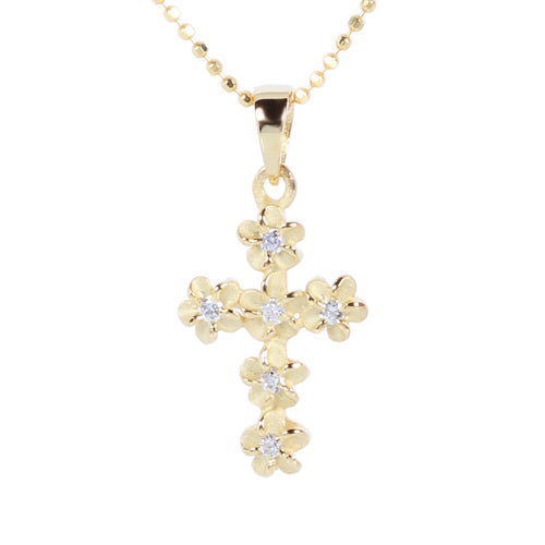 Yellow Gold Plated Sterling Silver 4mm Plumeria Cross Pendant - Hanalei Jeweler