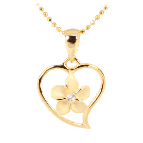Yellow Gold Plated Sterling Silver Simple Heart w/Plumeria Pendant - Hanalei Jeweler