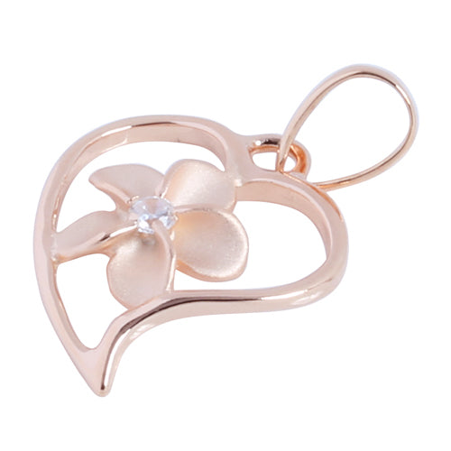 Pink Gold Plated Sterling Silver Simple Heart w/Plumeria Pendant - Hanalei Jeweler