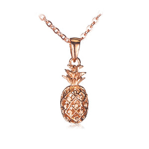 Pink Gold Plated Sterling Silver Pinapple Pendant(Chain Sold Separately) - Hanalei Jeweler