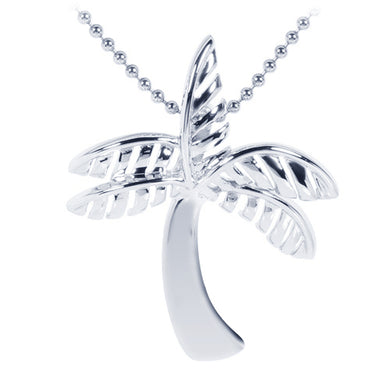 Sterling Silver Rhodium Shiny Palm Tree Pendant - Hanalei Jeweler