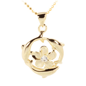 Yellow Gold Plated Sterling Silver Swimming Circle Dolphins w/Plumeria Pendant - Hanalei Jeweler