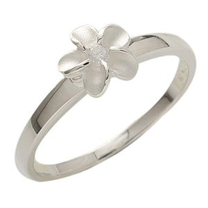 Single Plumeria Clear CZ Ring 8mm - Hanalei Jeweler
