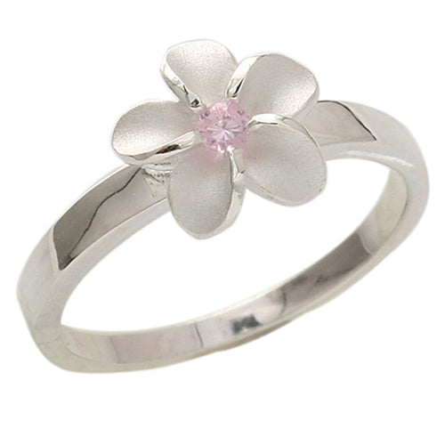 Single Plumeria Pink CZ Ring 10mm - Hanalei Jeweler