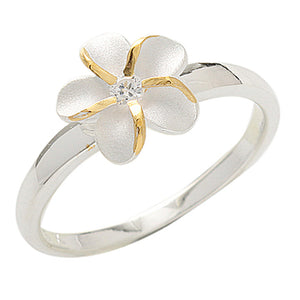 Single Plumeria Two Tone Ring 10mm - Hanalei Jeweler
