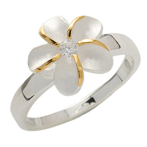Single Plumeria Two Tone Ring 12mm - Hanalei Jeweler